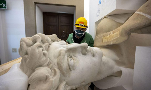 A 3D-printed copy of Michelangelo's 'David' at a lab in Florence, Italy.